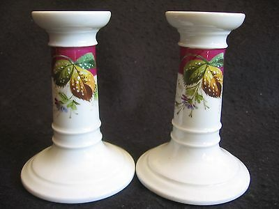 "NICE PAIR of VICTORIAN HAND-PAINTED PORCELAIN 4.75"" CANDLESTICKS c.1900 EX"