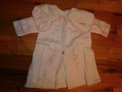 Vintage Pink Child Coat Embroidered Accents Lined Peter Pan Collar