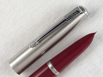 "VINTAGE 1950s PARKER ""SUPER 21"" FOUNTAIN PEN ~ BRIGHT RED ~ RESTORED!"