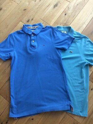Tommy Hilfiger And Lacoste Polo T.  Shirts, Size Small, Blue, Genuine Bargains,