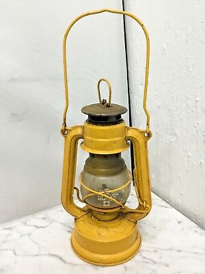 Vintage W. GERMANY FEUER HAND #1175  1174  KEROSENE LANTERN Jena Glass Yellow