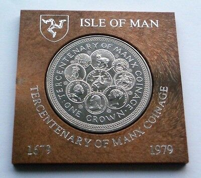 1979 Tercentenary Of Manx Coinage Crown - Isle Of Man Coin In Presentation Mount