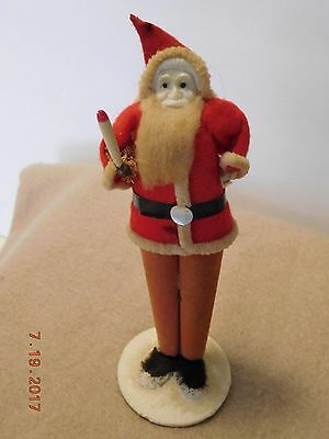 """Vintage Santa Claus Red Suit Holding Candle 6 ¼"""" Tall"""