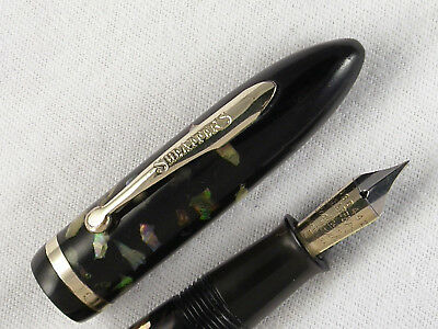 VINTAGE 1930s SHEAFFER MOTHER OF PEARL FULL SIZE BALANCE FOUNTAIN PEN ~ RESTORED