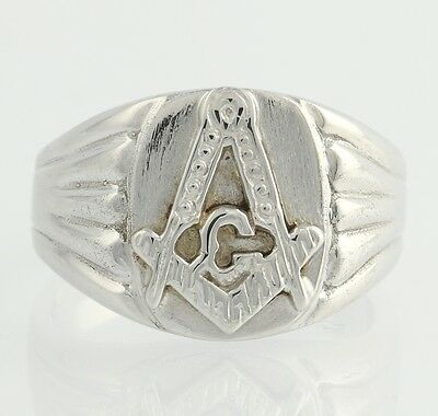 Masonic Ring *New* Master Mason - 14k White Gold Solid Back Band Masons