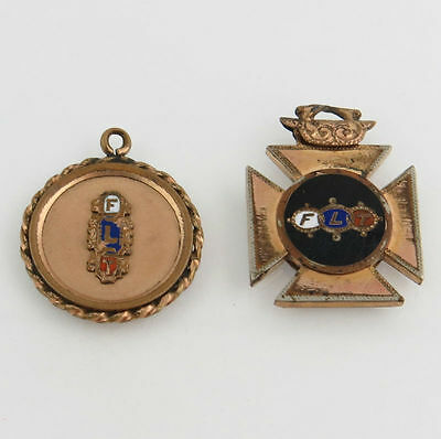 Odd Fellows - Vintage FLT Oval Fob Charm 3-Rings Fraternal Collectible Set of 2