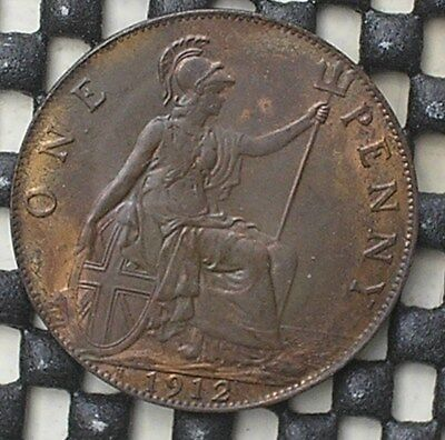 1912h KING GEORGE V BRITISH ONE PENNY COIN