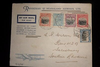 Rhodesia  And Nyasaland  First Flight Cover. Beira To Southern Rhodesia