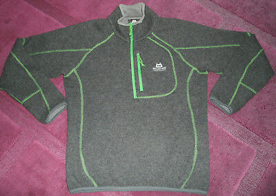 "42"" S Mountain Equipment Chamonix Half Zip Top Wool Fleece Sweater Grey Green"
