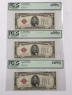Sequential Run of 1928D $5 Legal Tender Note PCGS 64&65 Fr.1529