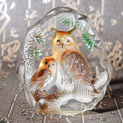 Clear Crystal Paperweight Color Olw Sculpture Figurine Ornament Collection Gift