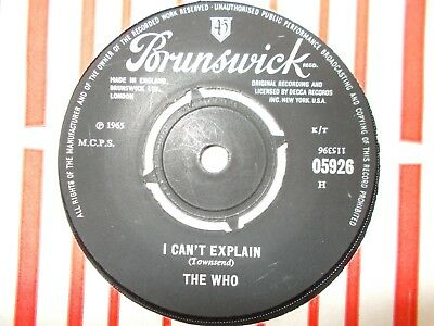 "Ex  Uk  Brunswick 45 - The Who - ""i Can't Explain"" / ""bald Headed Woman"""