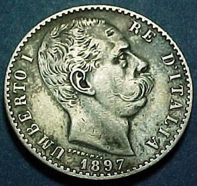 Italy - 1897R - 2 Two Lire - Nice Old Silver Coin