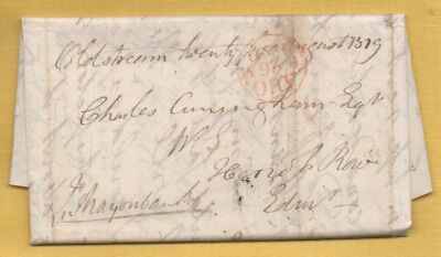1819 John MAJORIBANKS of LEES Entire Letter to Edinburgh, COLDSTREAM Mileage