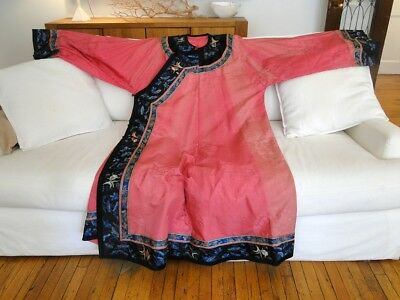 Antique Textiles- Chinese Robe With Fish Design In Embroidery
