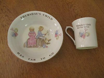 QUEENS, THURSDAY'S CHILD, UNUSED, NURSERY WARE, BEAKER and BOWL. BOXED.