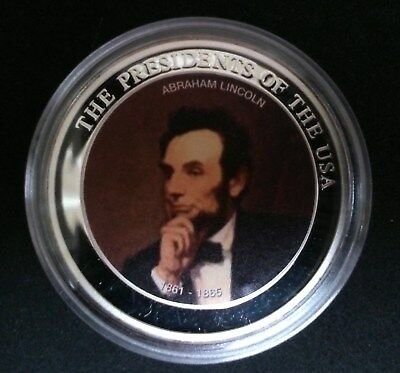 Abraham Lincoln Medaille in Farbe silverplated PP