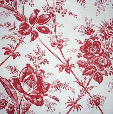 BEAUTIFUL 19th CENTURY FRENCH LINEN FLORAL TOILE DE JOUY,  projects ref