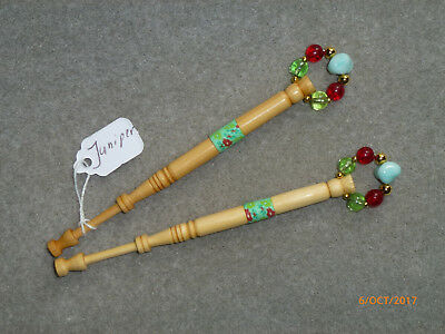 LACEMAKING LACE BOBBINS PAIR JUNIPER WOOD - from neighbour's garden