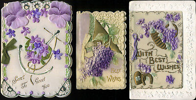 Vintage CELLULOID Christmas cards x3  PURPLE FLOWERS  Very KITSCH