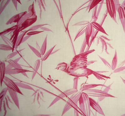 EXQUISITE MID 19th CENTURY FRENCH LINEN TOILE DE JOUY, BIRDS BAMBOO MAYFLY