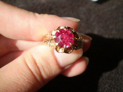 Vintage Edwardian Era/White, Wile & Warner 10K Yellow Gold/Ruby Ring