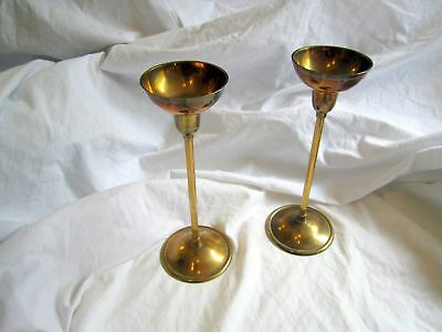 "Pair Of Vintage Indian Brass 9"" Candlesticks"