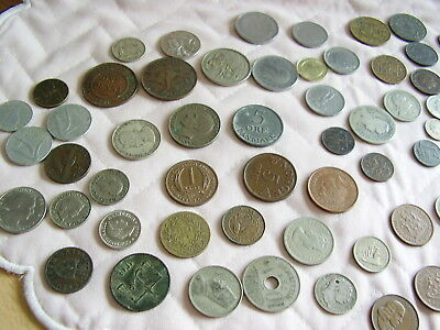 JOB LOT OLD FOREIGN COINS ~ ASSORTED COUNTRIES APPROXIMATELY 80 COINS ~ 350gms
