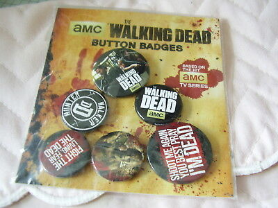 The Walking Dead 6 Button Badges ~ Sealed