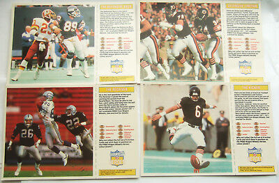 NFL American Football Cards (4) by Wagon Wheels, 1988 Large 16 x 11cm