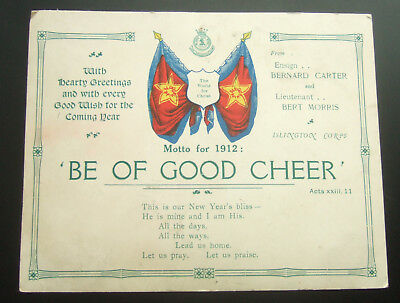 1912 Salvation Army New Years Card, Islington, London - Motto For The Year