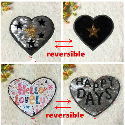 Reversible Sequins Love Hearted Sew On Patches For Clothes Diy Patch Applique