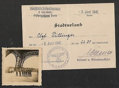 100% original WW2 German Army Paris Pass Document & Photo  --- Wehrmacht