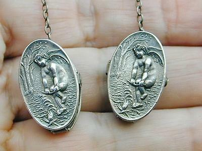 RARE Antique Sterling Bib Sweater Clip Cherub Making Building A Fire Hallmarked