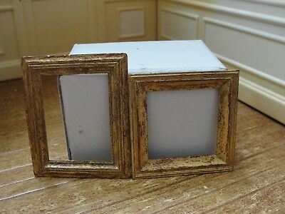Dollhouse Miniature 2 Gold Wood Picture Frames