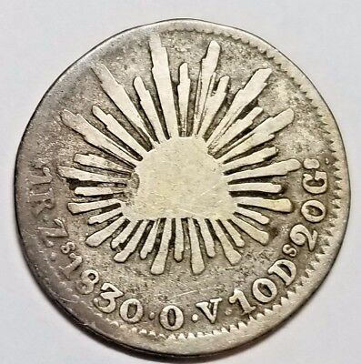 Mexico 1830-Zs One Real silver coin No Reserve KM# 372.10