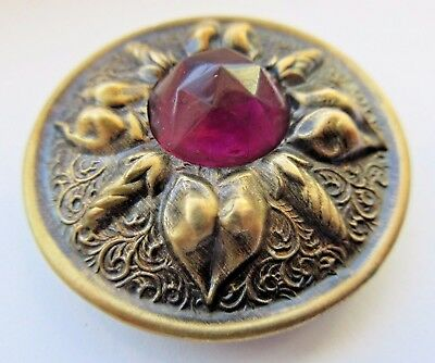 Spectacular X LARGE Antique GAY 90's BUTTON Ornate w/ Faceted Amethyst GLASS