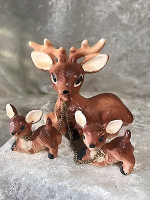 Vintage Porcelain Deer With Fawns In Chain / Japan