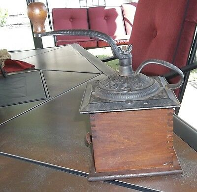 Antique Dovetail Box Joint Wood and Cast Iron Handle Coffee Grinder Mill