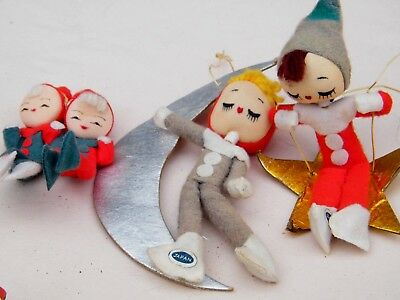 Vintage Felt Pixie Elves Foil Star & Moon Christmas Ornaments  Japan