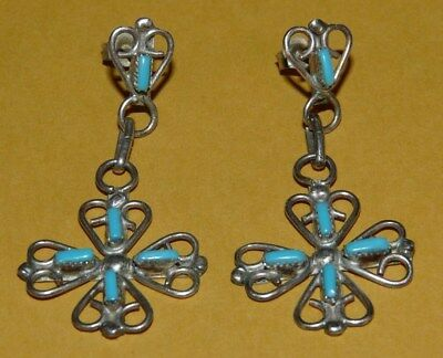 ~Vtg~Native~Zuni~Old~Pawn~Sterling~Silver~Needlepoint~Turquoise~Dangle~Earrings~