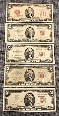 Lot of (5) Two $2 Dollars Red Seal U.S. Notes: 1928A 1953 (2)-1963 & 1963A