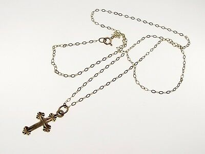9ct Gold Small Cross Pendant, 15 inch fine Gold Chain Ready to Wear