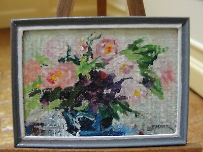 Dollhouse Miniature Hand-Painted Basket of Flowers Oil Painting  Artist Piece
