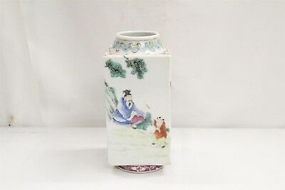 19C Export Chinese 4 Sided Squared 4 Wisemen Famillie Rose Porcelain Vase