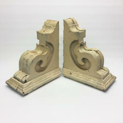 Pair Antique Wood Corbels Chippy Cream Paint Shabby Chic Retro 12 x 10.5 x 5.5