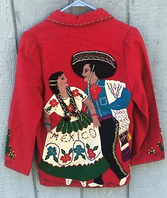Vintage 1940's Hand Embroidered Mexico Tourist Souvenir Jacket By Garcia Leal M