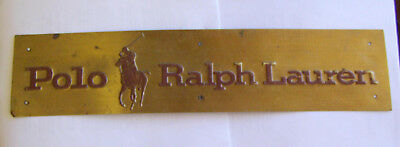 """Vintage Antique Polo Ralph Lauren Brass 4""""x18"""" Sign Very Rare Find & Collectible"""