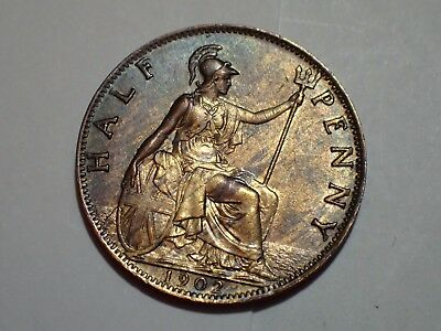 1902 Edward VII Half Penny Uncirculated Unc Some Lustre