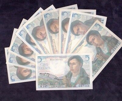10 Pcs Of 5 Francs Berger From France  Unc